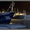 Arctic fishing fleet<br /> Russian trawlers at Kirkenes harbour, -25 C