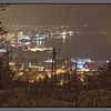 Snow over town<br /> Bodø harbour seen from Linken