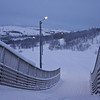 Curves - mid day dusk<br /> Lighted ski track bridge, Kirkenes