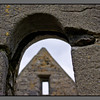 Window detail<br /> Chapel, dedicated to st. Enda, east of Kileany<br /> Dated about 800 AC