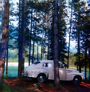 My 1961 Volvo PV-544 at Two Jack Lake near Banff, Alberta, Canada - 1975