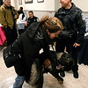 "K-9 officer Bryan Nawoschik's partner, Jerry, gets wildly excited when he sees ""foster parents,"" Vicki Berkowitz during a fundraiser at Maenner Chor Club May 13, 2017.  (Bob Raines/Digital First Media)"
