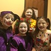 Jesters, from left, Leah Saffell, Brianna Devlin, Eva Friedgen and Grace Stumpf pose for a photo before the Boar's Head and Yule Log Festival at St. Peter's Lutheran Church, Whitemarsh, Saturday, Jan. 6, 2018.  (Joe Barron ― Digital First Media)