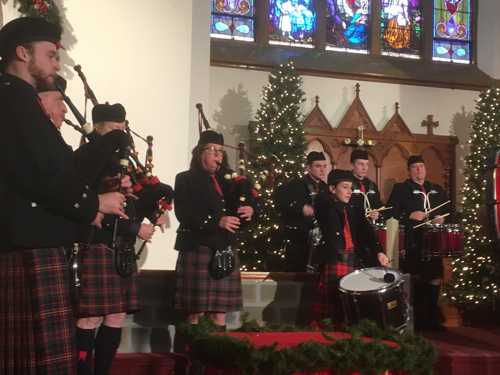 . The Cameron Highland Pipe Band performs at the Boar\'s Head and Yule Log Festival at St. Peter\'s Lutheran Church, Saturday, Jan. 6, 2018. (Joe Barron � Digital First Media)