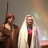 Roger Barascout, as Joseph, and Grace Biddy, as Mary, make their entrance at the Boar's Head and Yule Log Festival at St. Peter's Lutheran Church, Whitemarsh, Saturday, Jan. 6, 2018.  (Joe Barron ― Digital First Media)