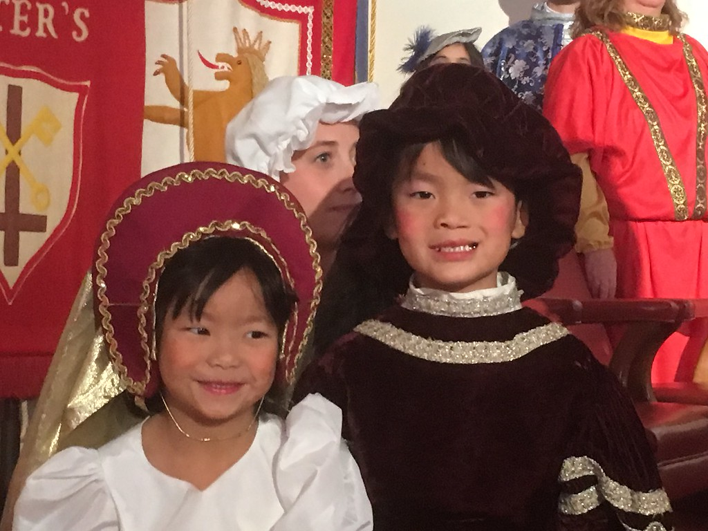 . Alyson and Kian Willison portray the children of the lord pf the manor at St. Peter\'s Lutheran Church, Whitemarsh, during the Boar\'s Head and Yule Log Festival Saturday, Jan. 6, 2018. (Joe Barron � Digital First Media)