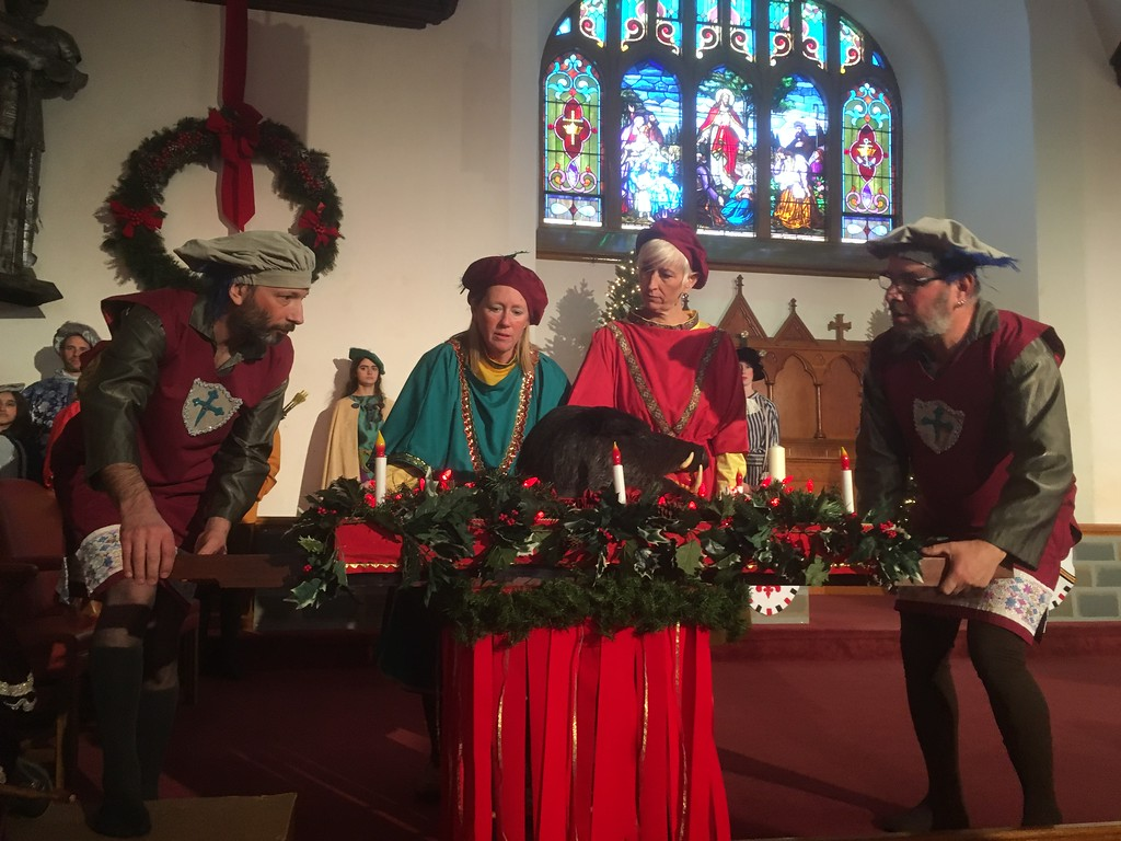 . The titular boar\'s head is displayed during the annual Boar\'s Head and Yule Log Festival at St. Peter\'s Lutheran Church, Whitemarsh, Saturday, Jan. 8, 2018. (Joe Barron � Digital First Media)