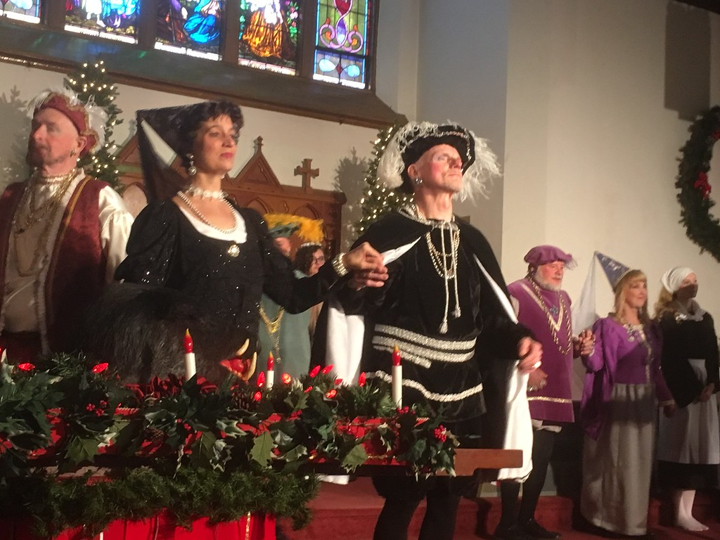 . The cast performs a stately dance at the Boar\'s Head and Yule Log Festival at St. Peter\'s Lutheran Church, Whitemarsh, Saturday, Jan. 6, 2018. (Joe Barron � Digital First Media)
