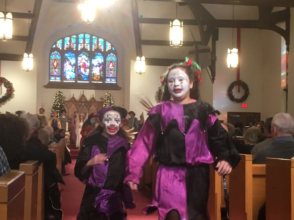 . Jesters entertain the crowd during the Boar\'s Head and Yule Log Festival at St. Peter\'s Lutheran Church, Whitemarsh, Saturday, Jan. 6, 2018. (Joe Barron � Digital First Media)