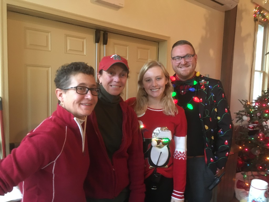 . Working the bar at Brunch With Santa at the Elmwood Park Zoo, Norristown, are, from left, Micky Delliponti, Lisa Van Fossen and Kaitlyn McCollum, with Eric Donovan, the zoo\'s director of operations, Saturday, Dec. 23, 2017. (Joe Barron � Digital First Media)
