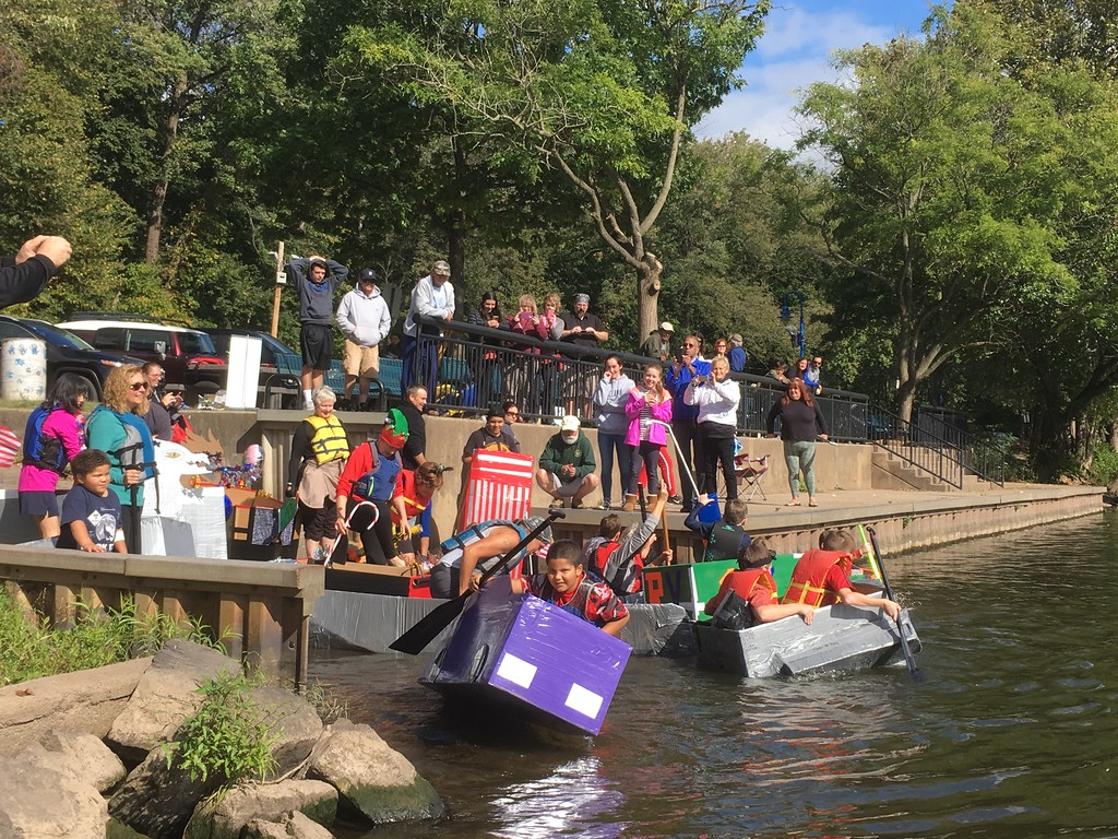 . Competitors take to the water at the Cardboard and Duck Tape Boat Race at Riverfront Park, Norristown, Sept. 30, 2017. Joe Barron - Digital First Media