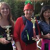 The three winners of the Norristown Dragon Club's Cardboard and Duck Tape Boat Race, from left, Victoria Bulleck, Ellie Arch, adn Sylvia McDonnnell, pose with their trophies at Riverfront Park Saturday, Sept. 30, 2017. Bulleck won for best sink, and Arch for best decoration. McDonnell won the race.  Joe Barron - Digital First Media