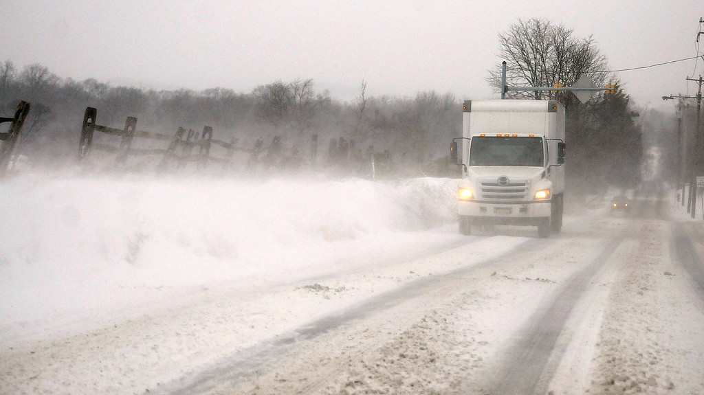 . Gene Walsh � Digital First Media High winds blow snow on to Route 113 in Trappe January 4, 2018.