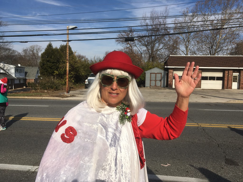 . Mrs. Claus waves to the crowd at the East Norriton holiday parade on Germantown Pike Saturday, Dec. 2, 2017.  (Joe Barron/Digital First Media)