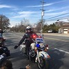 A motorcycle cop greets tthe crowd in advance of the East Norriton holiday parade Saturday, Dec. 2, 2017. (Joe Barron/Digital First Media)