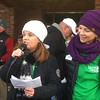 Colleen Lelli, left, co-president of the board of directors of Laurel house, addresses the crowd at Hillcrest Plaza following the East Norriton holiday parade Saturday, Dec. 2, 2017.  With her is board co-president Mary Alfarano.  (Joe Barron/Digital First Media)