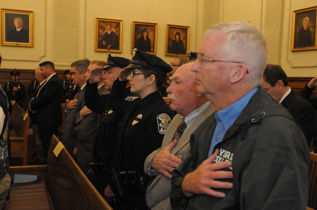 . Fallen law enforcement officers honored during annual Montgomery County Police Memorial at the Courthouse in Norristown May 5, 2017. Gene Walsh � Digital First Media