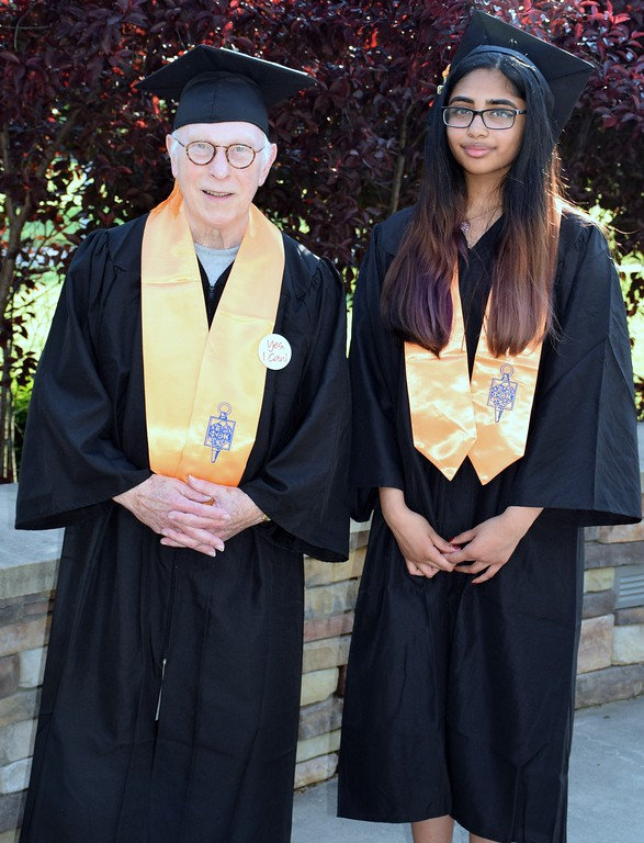 . John Sprouse of Lansdale was MCCC\'s oldest 2017 graduate and thei youngest, Himani Devabhaktuni of North Wales. Debby High for Digital First Media