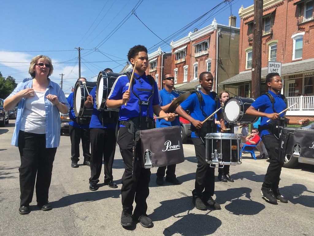 . Drummers from Norristown Area high School, known collectively as Town Storm, march up Stanbridge Street in the Fourth of July parade Tuesday, July 4, 2017. Joe Barron -- Digital First Media