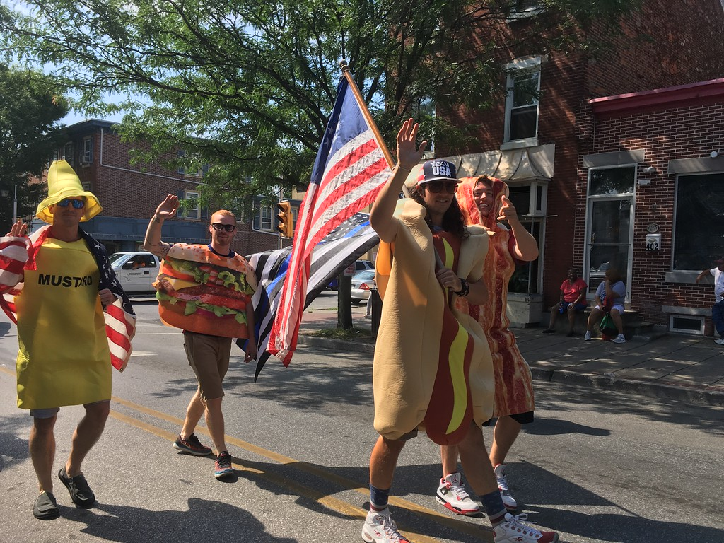 . Men dressed as lunch march on West Marshall Street in the Norristown Fourth of July parade Tuesday, July 4, 2017. Joe Barron -- Digital First Media