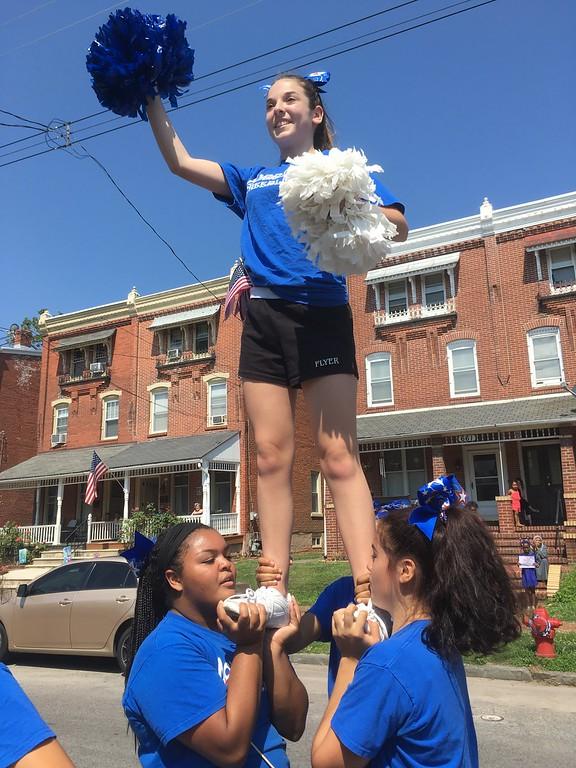 . Norristown Area High School cheerleaders impress spectators on Stanbridge Street during the Fourth of July Parade Tuesday, July 4, 2017. Joe Barron -- Digital First Media