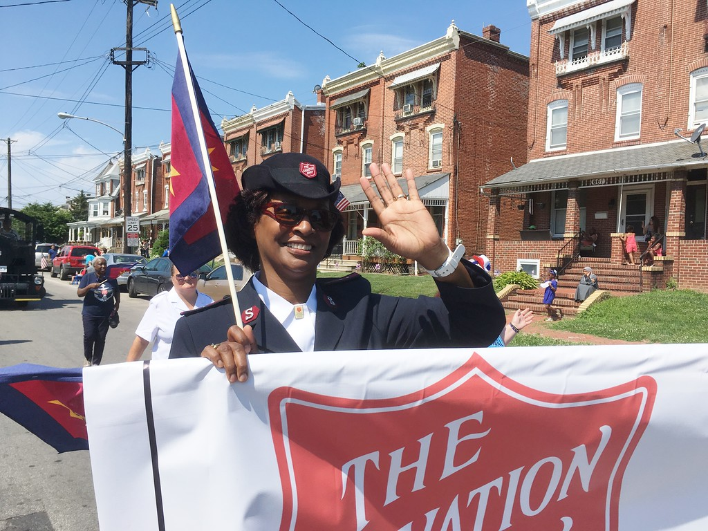 . Salvation Army Capt. Felicia Flora takes part in the Norristown Fourth of July parade in full uniform Tuesday, July 4, 2017. Joe Barron -- Digital First Media
