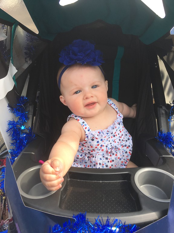 . Seven-month-old Kassidee Watson takes part in her first Norristown Fourth of July Parade from the comfort of her stroller, Tuesday, July 4, 2017. Joe Barron -- Digital First Media