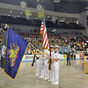 Photo courtesy of SOPA<br /> The color guard stands at attention during the national anthem for the  opening ceremonies.