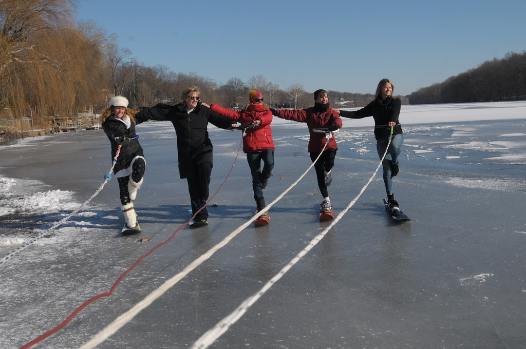 . Members of the Port Indian Ski Club hold a their annual Ski Freeze on top of the frozen Schuylkill River in West Norriton January 1, 2018. Gene Walsh � Digital First Media