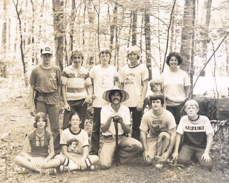 Steve Meacham, Stan Hargraves, and Susan Lynch with campers