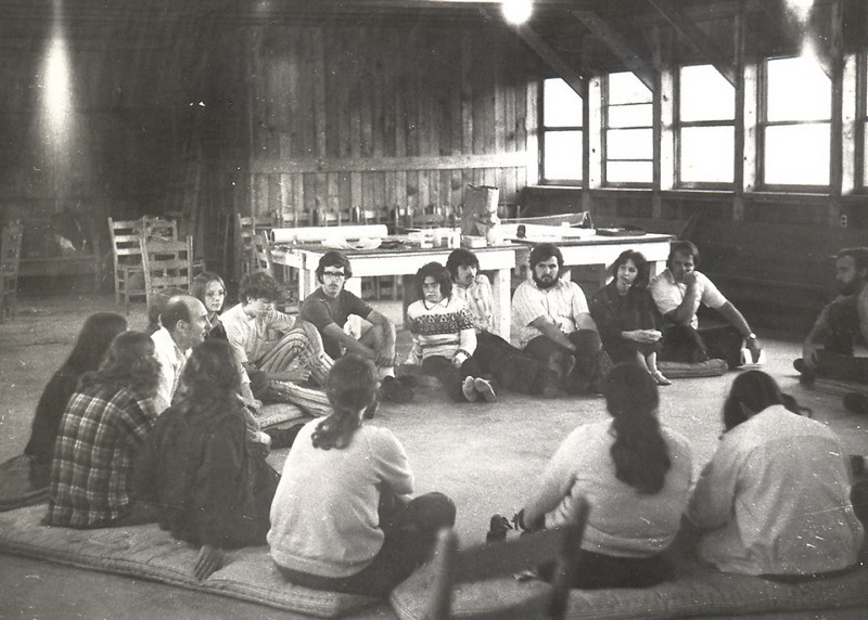 Staff Training 1973 at Trinity Hills UMC. Twana Claiborne, Jack Potter, John Wright, his wife, Bob Hill, Betsy ___, Larry ___, John Gary Shipman, Jan Hinton, Joy Bryant, Quinton Wacks, and other counselors