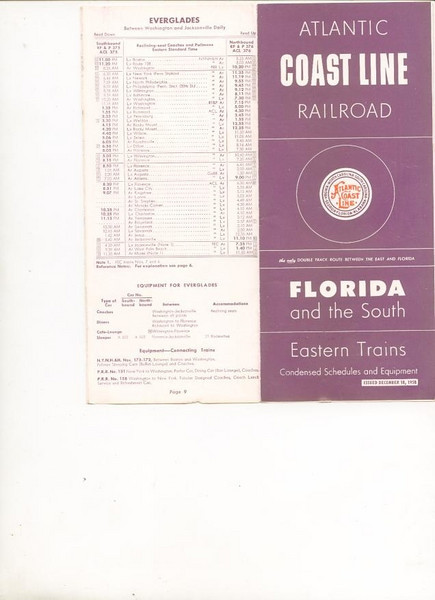 ACL 1958-dec-18 Atlantic Coast Line Eastern Trains for Florida<br /> 357955109_2U3F8