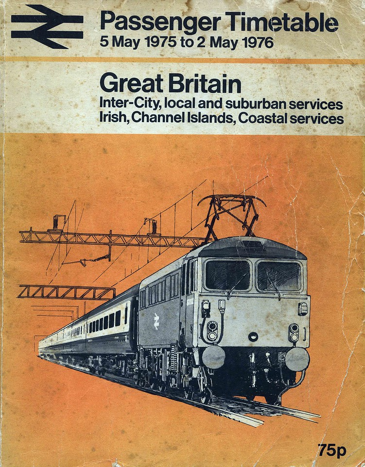 Back in 1975 the Electric Scots adorned the timetable's cover, the headline grabbing 5 hour schedule of the Royal Scot (Euston 10:45, Glasgow Central 15:45) was comfortably faster than the Flying Scotsman's five and a half hours from Kings Cross to Edinburgh. Of course HST  introduction on the Western Region was only a year away and would eclipse, in speed terms, both Anglo Scottish routes in due course.<br /> <br /> Interestingly many preserved lines were also included as are Irish Sea and Isle of Man ferries, and those to Orkney and Shetland and the Channel Islands. Continental services are in a separate timetable.<br /> <br /> What is immediately apparant comparing 2013 with 1975 is the increase in frequencies on almost all lines.