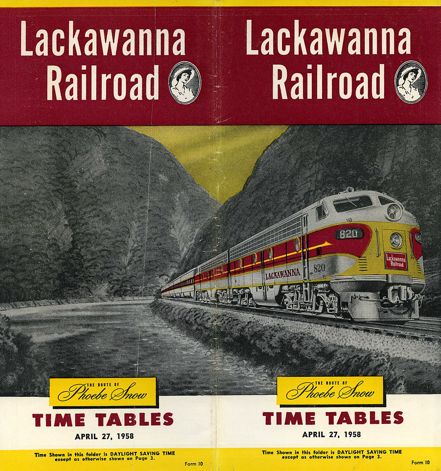 The cover features the Lackawanna's signature train, The Phoebe Snow, in the Delaware Water Gap.<br /> <br /> Phoebe Snow was an early work of advertising genius, created in the 1900s to extol the virtues of the clean burning anthracite  Lackawanna locomotives used. Pheobe was a young lady who habitually wore white and was extraordinarily partial to train travel, favouring the Lackawanna because of its use of anthracite.<br /> <br /> Phoebe says, and Phoebe knows<br /> That smoke and cinders spoil good clothes<br /> 'Tis thus a pleasure, and delight<br /> To ride the Road of Anthracite.<br /> <br /> During WW1 the Lackawanna was forced to burn bituminous coal as anthracite was needed for the war effort and Phoebe disappeared from view. She next appeared, in uniform, during WW2 on the side of boxcars and after the war as the new name for the streamlined version of the DLW's crack train, what had been the Lackawanna Limited.