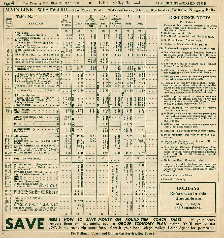 In 1954 the LV scheduled six trains between New York and Lehighton, five onward to Wilkes-Barre and three through to Buffalo, the latter consisting of the daylight Black Diamond (no.9), the Maple Leaf to Toronto (no.7) and the overnight Star (no.11).<br /> <br /> The LV's route to Buffalo (447 miles)  was significantly longer than the Lackawanna (396 miles) and longer than the New York Central's Water Level Route (436 miles). What kept it in business was the mountain scenery and a good reputation for service.
