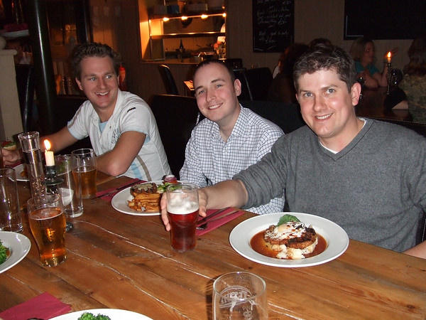 Benji, Jo's brother, Tim, the lucky man, and JD, the best man, enjoying a hearty lining of the stomach to commence proceedings.
