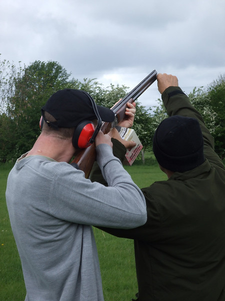 Yours truly getting a bit keen while the instructor points out where I should be shooting. I think he was meant to move his finger <i>before</i> I pulled the trigger...