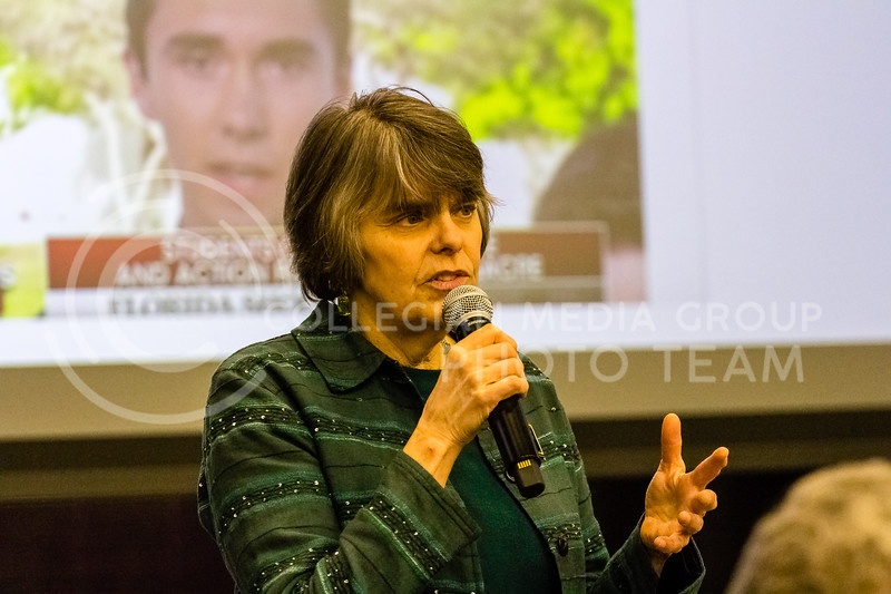 Mary Beth Tinker Spoke in wildcat chamber on Feb 24th. on The Constitutional Rights of Students and Young People. Mary Beth Tinker is an American free speech activist known for her role in the 1969 Tinker v. Des Moines Independent School District Supreme Court case, which ruled that Warren Harding Junior High School could not punish her for wearing a black armband in school in support of a truce in the Vietnam War. The case set a precedent for student speech in schools.  (Alex Shaw   Collegian Media Group)