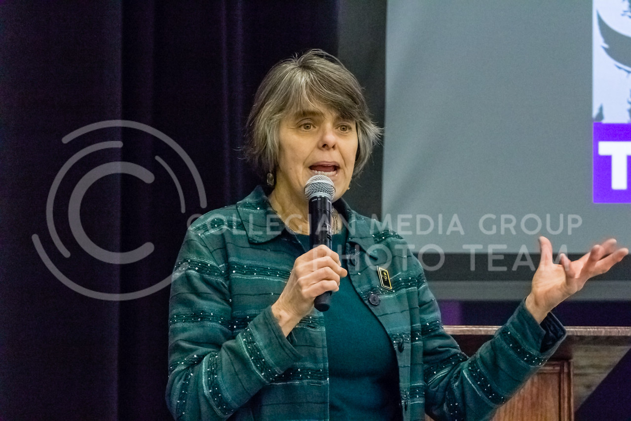 Mary Beth Tinker Spoke in wildcat chamber on Feb 24th. on The Constitutional Rights of Students and Young People. Mary Beth Tinker is an American free speech activist known for her role in the 1969 Tinker v. Des Moines Independent School District Supreme Court case, which ruled that Warren Harding Junior High School could not punish her for wearing a black armband in school in support of a truce in the Vietnam War. The case set a precedent for student speech in schools.  (Alex Shaw | Collegian Media Group)