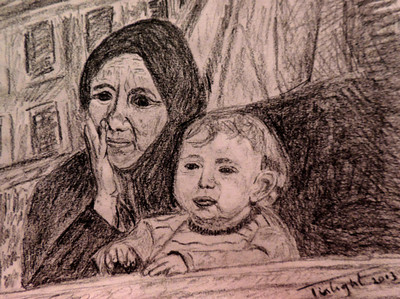Migrant Mother 2013  A Syrian mother in a Turkish refugee camp.  6B pencil on paper. Thanks to AFP for the reference photo.