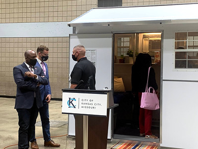 April 29, 2021. Kansas City officials display a model at Bartle Hall of the tiny house they plan to populate a village for the homeless. Photo courtesy of City of Kansas City
