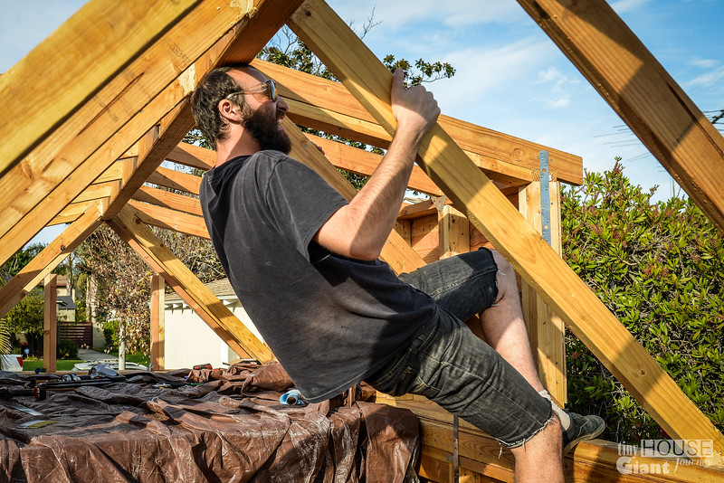Justin testing the strenght of the ridge beam with his head
