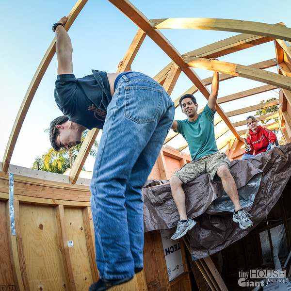 Gabe the gymnastRead more here: http://tinyhousegiantjourney.com/2013/11/25/dormers-sheathing-roof-framing-bbbbq-10 Follow us here: www.facebook.com/tinyhousegiantjourney