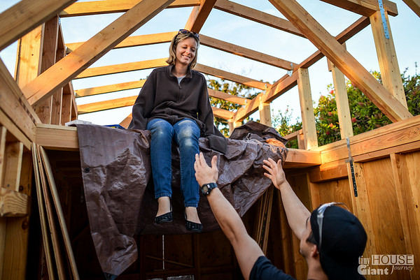 Jenna and the dilemma of getting down from the loft - Part II  Read more here: http://tinyhousegiantjourney.com/2013/11/20/strapping-sheathing-framing-bbbbq-9/ Follow us here: www.facebook.com/tinyhousegiantjourney