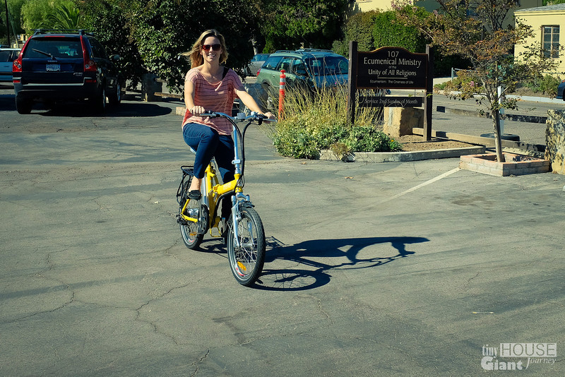 Jenna testing out electric bikes  Read more here: http://tinyhousegiantjourney.com/2013/10/28/ojai-green-home-tour/ Follow us here: www.facebook.com/tinyhousegiantjourney