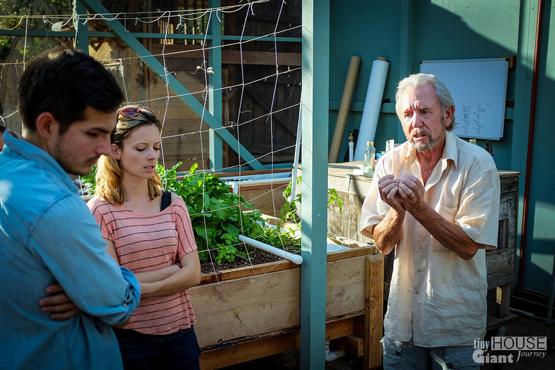Colin Jones explaining everything about aquaponics.  Read more here: http://tinyhousegiantjourney.com/2013/10/28/ojai-green-home-tour/ Follow us here: www.facebook.com/tinyhousegiantjourney