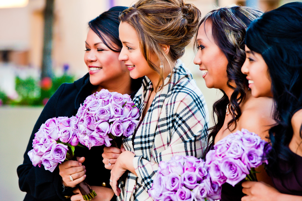 purple bridesmaid flowers