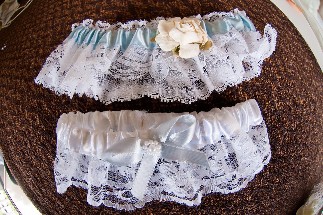 blue and white garter belt