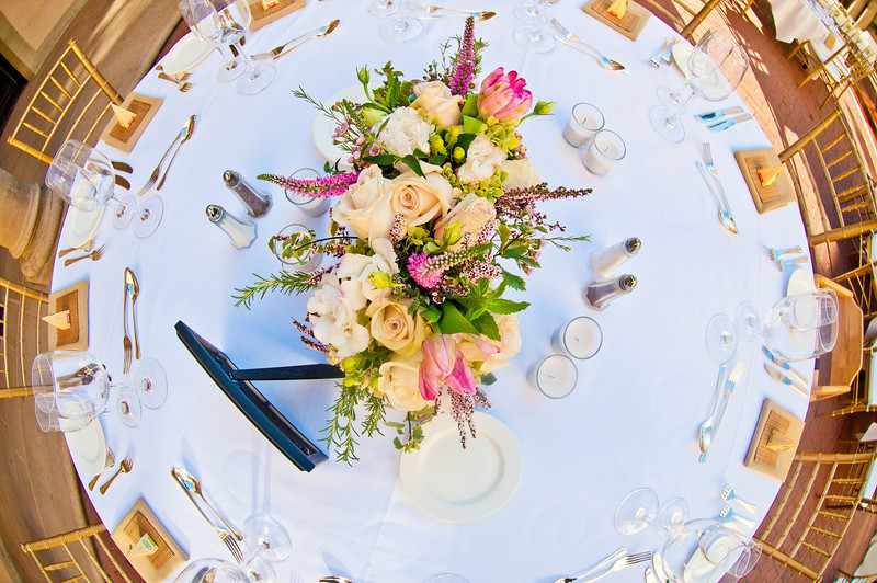 Top view of wedding reception table decoration