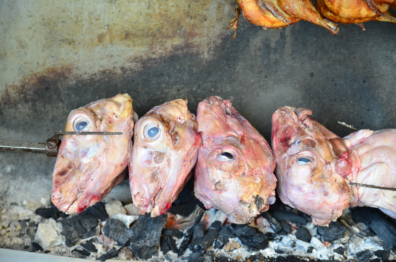 Market - Spit-Roasted Chickens and Lamb Heads